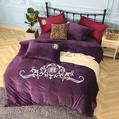 2018新款毛巾绣水晶绒四件套 1.5m(5英尺)床 劳斯莱斯 紫