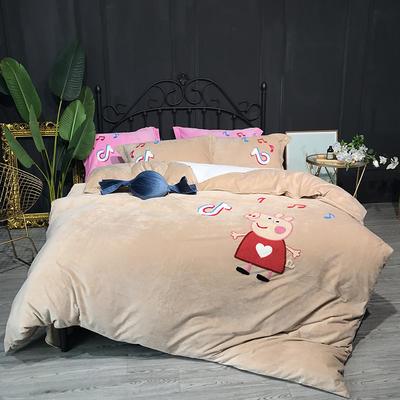 2018新款毛巾绣水晶绒四件套 1.5m(5英尺)床 佩奇 米驼