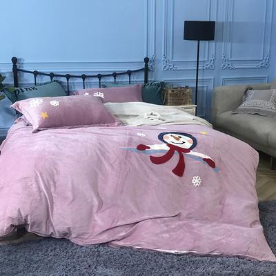 2018新款毛巾绣水晶绒四件套 1.5m(5英尺)床 雪人