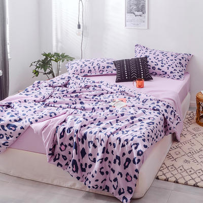 2019春夏最新款豹纹夏被四件套四色 单品夏被,200*230 豹纹-粉紫
