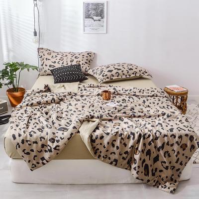 2019春夏最新款豹纹夏被四件套四色 单品夏被,200*230 豹纹-经典咖