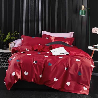 2019新款60长绒棉印花四件套(实拍) 1.8m(6英尺)床单款 爱情密码-红