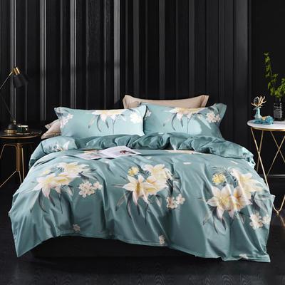 2019新款60长绒棉印花四件套(实拍) 2.0m(6.6英尺)床单款 春色满园-绿