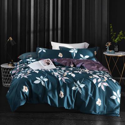 2019新款60长绒棉印花四件套(实拍) 2.0m(6.6英尺)床单款 葱郁世界-墨绿