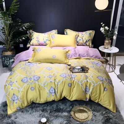 2019新款60长绒棉印花四件套(实拍) 2.0m(6.6英尺)床单款 宫廷贵族