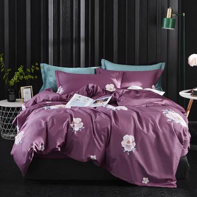2019新款60长绒棉印花四件套(实拍) 2.0m(6.6英尺)床单款 俏枝馨语-紫
