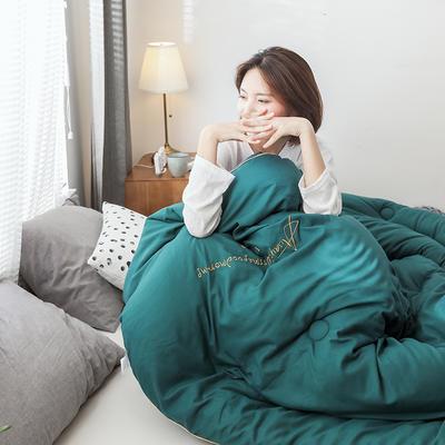 2019新款绣花字母冬被 200X230cm(4斤) 孔雀绿