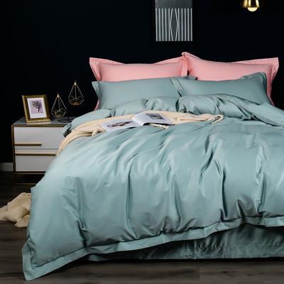 2020新款100支纯色长绒棉四件套 1.5m(5英尺)床单款 艾绿