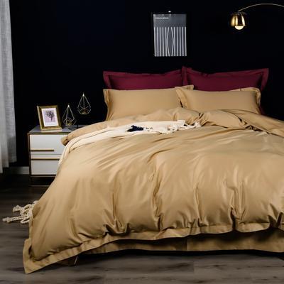 2020新款100支纯色长绒棉四件套 1.5m(5英尺)床单款 奥丁金