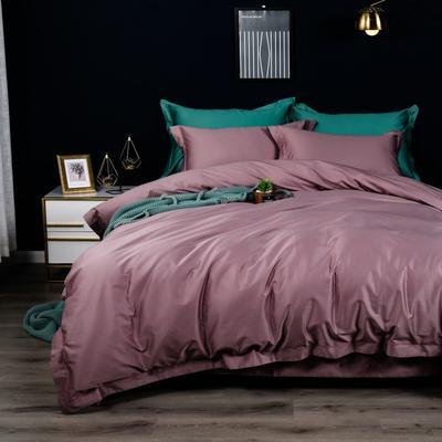 2019新款100支纯色长绒棉四件套 1.5m(5英尺)床单款 珊瑚红