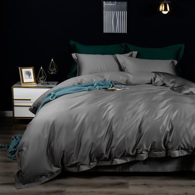 2019新款100支纯色长绒棉四件套 1.5m(5英尺)床单款 星辰灰