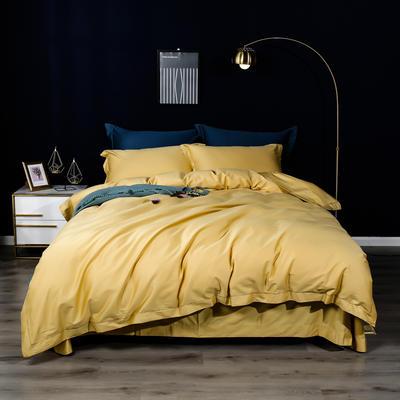 2019新款100支纯色长绒棉四件套 1.5m(5英尺)床单款 玉米黄
