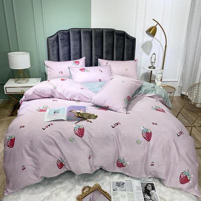 2020新款全棉简约印花四件套 1.2m床单款三件套 樱桃草莓