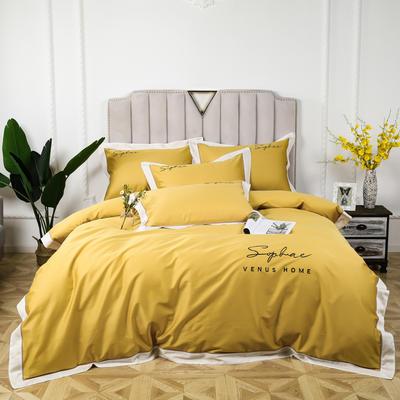 2020新款-60s贡缎长绒棉拼边拼角款绣花系列四件套 1.5m床单款四件套 嫩黄