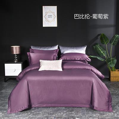 2020新款100支长绒棉埋绳系列四件套 1.5m床单款四件套 葡萄紫
