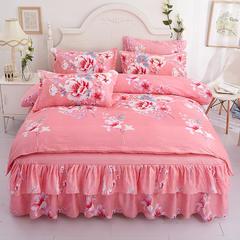 芦荟棉双边床裙四件套 1.2m床裙款四件套 春风画梦