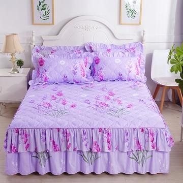 2018新款-双边夹棉单床裙 150*200cm 熏衣草-紫