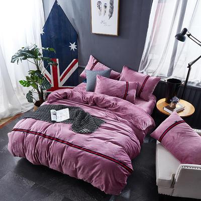 2018新品毛巾绣法莱绒绒四件套简约格调款 1.8m床 简约格调--紫