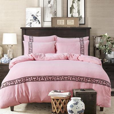 2018新品毛巾绣法莱绒绒四件套优雅生活款 1.8m(6英尺)床 优雅生活-粉玉