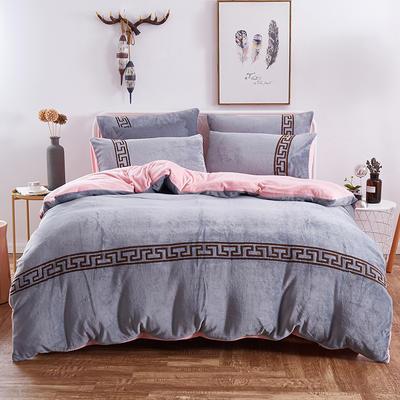 2018新品毛巾绣法莱绒绒四件套优雅生活款 1.8m(6英尺)床 优雅生活--灰
