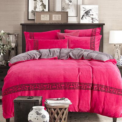 2018新品毛巾绣法莱绒绒四件套优雅生活款 1.8m(6英尺)床 优雅生活-玫红