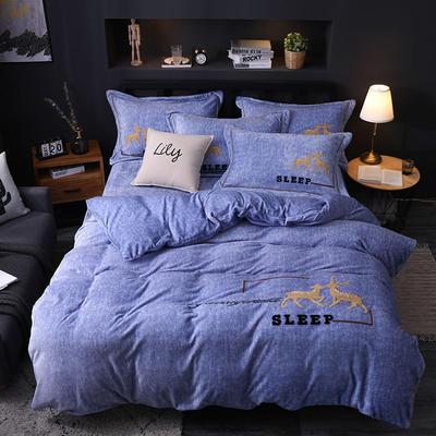 2019新款-卡通绣花色织牛奶绒四件套 床单款1.8m(6英尺)床 吉米鹿-牛仔蓝