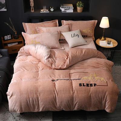 2019新款-卡通绣花色织牛奶绒四件套 床单款1.5m(5英尺)床 吉米鹿-驼色