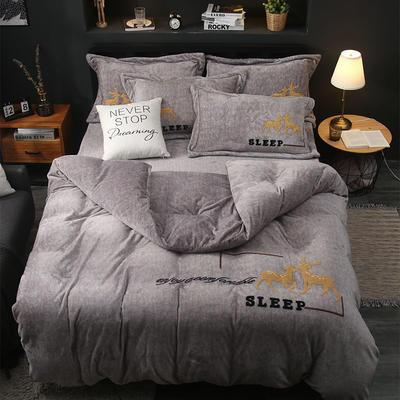 2019新款-卡通绣花色织牛奶绒四件套 床单款1.8m(6英尺)床 吉米鹿-银灰