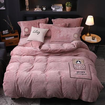 2019新款-卡通绣花色织牛奶绒四件套 床单款1.8m(6英尺)床 香水味-卡其