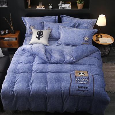 2019新款-卡通绣花色织牛奶绒四件套 床单款1.8m(6英尺)床 香水味-牛仔蓝