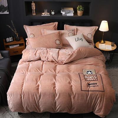 2019新款-卡通绣花色织牛奶绒四件套 床单款1.8m(6英尺)床 香水味-驼色