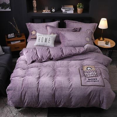 2019新款-卡通绣花色织牛奶绒四件套 床单款1.5m(5英尺)床 香水味-香芋色