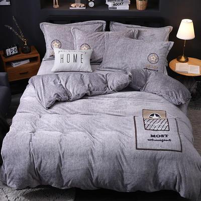 2019新款-卡通绣花色织牛奶绒四件套 床单款1.8m(6英尺)床 香水味-银灰
