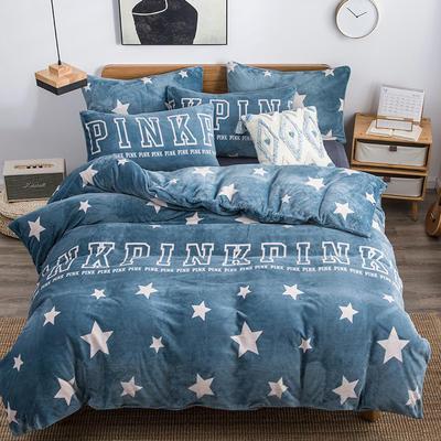 2019新款-无印良品风格牛奶绒四件套 床单款三件套1.2m(4英尺)床 PINK星星-浅蓝
