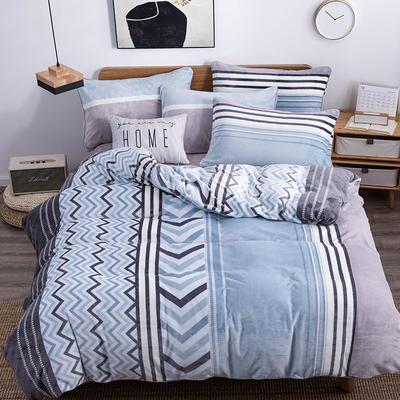 2019新款-无印良品风格牛奶绒四件套 床单款四件套1.5m(5英尺)床 城市风