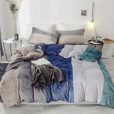 2019新款-无印良品风格牛奶绒四件套 床单款四件套1.5m(5英尺)床 大宽条