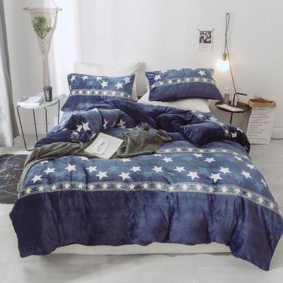 2019新款-无印良品风格牛奶绒四件套 床单款四件套1.8m(6英尺)床 繁星