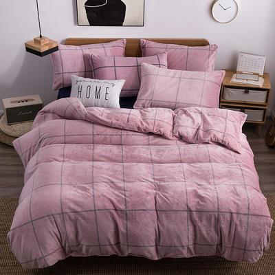 2019新款-无印良品风格牛奶绒四件套 床单款三件套1.2m(4英尺)床 麦格人生-粉