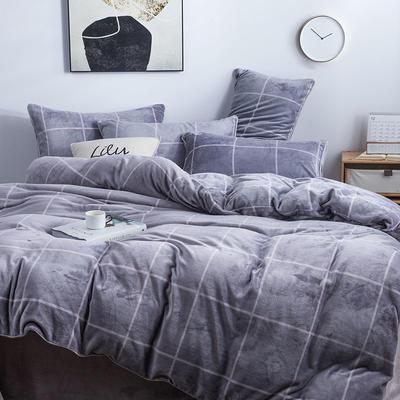 2019新款-无印良品风格牛奶绒四件套 床单款三件套1.2m(4英尺)床 麦格人生-灰