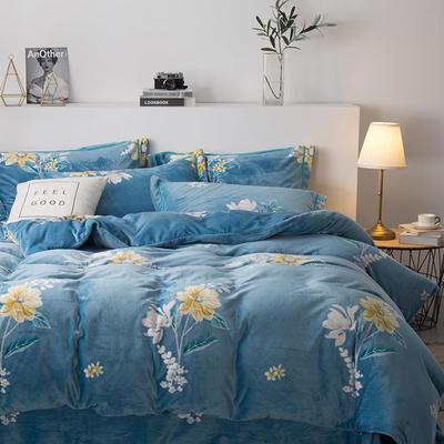 2019新款-印花牛奶绒四件套 床单款四件套1.8m(6英尺)床 暗香