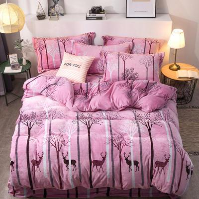 2019新款-印花牛奶绒四件套 床单款四件套1.5m(5英尺)床 丛林时代-粉