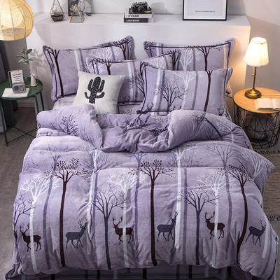 2019新款-印花牛奶绒四件套 床单款四件套1.8m(6英尺)床 丛林时代-紫