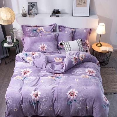 2019新款-印花牛奶绒四件套 床单款四件套1.8m(6英尺)床 芳香扑鼻