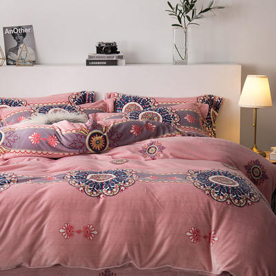 2019新款-印花牛奶绒四件套 床单款四件套1.8m(6英尺)床 古典神韵