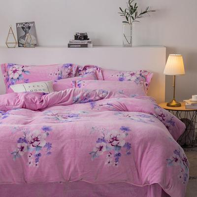 2019新款-印花牛奶绒四件套 床单款四件套1.8m(6英尺)床 花海