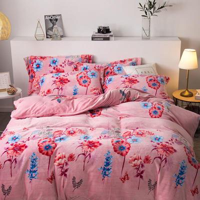 2019新款-印花牛奶绒四件套 床单款四件套1.8m(6英尺)床 花枝招展