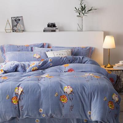 2019新款-印花牛奶绒四件套 床单款三件套1.2m(4英尺)床 木棉花
