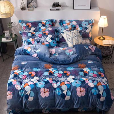 2019新款-印花牛奶绒四件套 床单款四件套1.5m(5英尺)床 飘絮