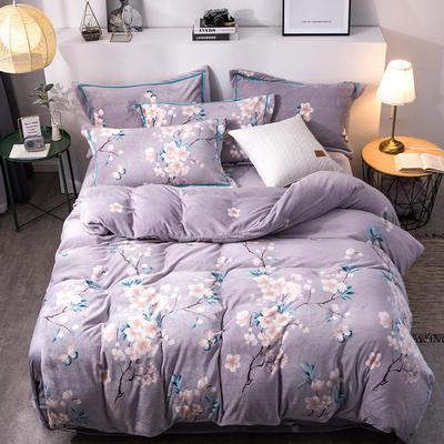 2019新款-印花牛奶绒四件套 床单款四件套1.5m(5英尺)床 儒雅幽香