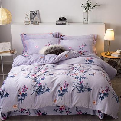 2019新款-印花牛奶绒四件套 床单款四件套1.8m(6英尺)床 桃花盛世